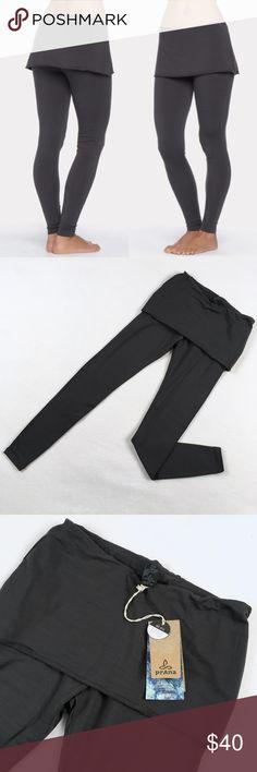 Prana Satori Skirted Leggings Charcoal NWT Prana leggings with attached skirt. Satori style, charcoal color.  Ultra soft tencel fabric. New with tags.  Really cute style! Prana Pants Leggings