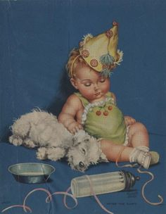 After The Party - Illustration by Charlotte Becker-sleeping baby and pup.