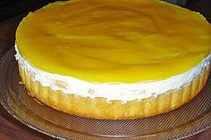 Schnelle Pfirsich - Maracuja - Torte (aber mit meinem selbstgemachtem Bisquit-Boden)