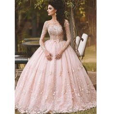 Cheap princess bridal gown, Buy Quality bridal gown directly from China bridal gowns in dubai Suppliers: Vestido de Novia 2017 Blush Pink Lace Ball Gown Wedding Dress Long Sleeves Boat Neck Flora Princess Bridal Gowns in Dubai Lace Ball Gowns, Ball Gowns Prom, Ball Dresses, 15 Dresses, Pretty Dresses, Formal Dresses, Dresses Online, Pink Ball Gowns, Formal Prom