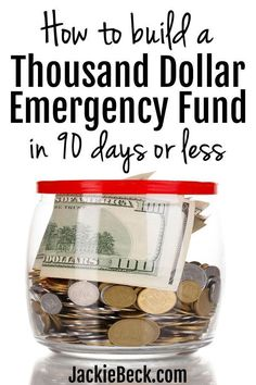Here's exactly how to build a $1,000 emergency fund fast (in 90 days or less.)   Baby emergency fund savings plan   Personal finance   Saving money   Emergency fund ideas