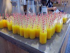 oj in milk bottles striped straws Juicy Juice, Milk Bottles, Straws, Orange, Party, Food, Garden, Lawn And Garden, Parties