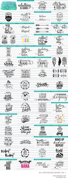 the fourth installement of our super popular craftalicious s.and png format. a complete commercial license is included. Plotter Silhouette Cameo, Silhouette Cameo Projects, Silhouette Machine, Silhouette Design, Silhouette Files, Cricut Fonts, Cricut Vinyl, Cricut Air, Vinyl Decals