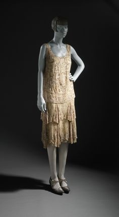 Woman's Evening Dress circa 1926 Sequins on silk chiffon and lace | LACMA Collections