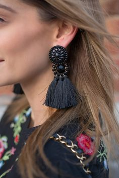 H&M Black Tassel Earrings