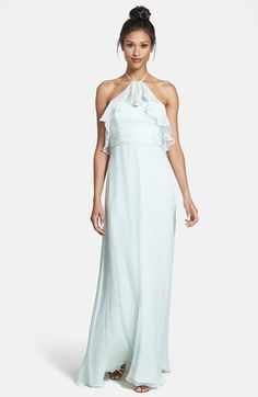 Mint Halterneck Chiffon Dress