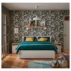 Room Decor: 60 Ideas and Designs for You to Be Inspired - Home Fashion Trend Bed Frame Legs, Steel Bed Frame, Cama Ikea, Under Bed Storage, Storage Boxes, Storage Spaces, Ikea Storage, Teal Bedding, Interiors