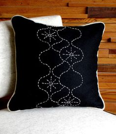 Sashiko stiched pillow eclectic furniture