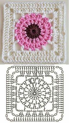 Crochet Motif Patterns, Granny Square Crochet Pattern, Crochet Diagram, Crochet Chart, Crochet Squares, Crochet Basics, Diy Crochet, Crochet Designs, Crochet Granny