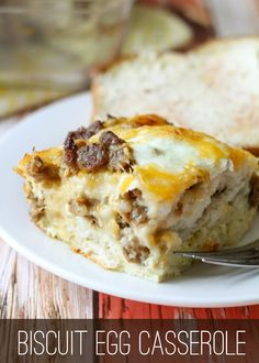 Delicious Biscuit Egg Casserole - so good and it takes just minutes to prepare! { lilluna.com } Make Ahead Breakfast, Breakfast Bake, Breakfast Dishes, Breakfast Casserole, Breakfast Recipes, Overnight Breakfast, Breakfast Ideas, Egg Biscuits, Coconut Biscuits