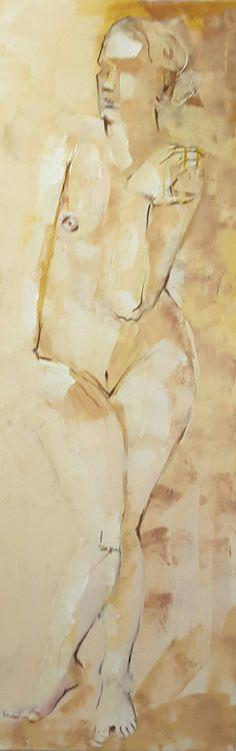 Akt stehend 120x40cm Acryl und Sepiastift auf Leinwand Abstract, Artwork, Canvas, Pictures, Summary, Work Of Art, Auguste Rodin Artwork, Artworks, Illustrators