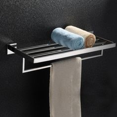 """(24"""" 60cm)New Chrome Project  SQUARE Stainless Steel Double Layer Towel Rack Mirror Polish Towel Holder Bathroom  Accessories #Affiliate"""