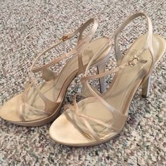 """BCBGeneration Champagne Satin Heels, Sz 7M BCBGeneration """"Gretel"""" Champagne Satin Heels, size 7M. Great condition! Purchase 3+ items and save 10%. BCBGeneration Shoes Platforms"""
