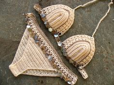 Items similar to Crochet Bikini Set- Crochet Bikini - Crochet Striped Bikini - Brazilian Bikini - Bikini Set - Bikini - Handmade Bikini - Boho - Indie on Etsy Brasilianischer Bikini, Bikini Sets, Haut Bikini, Sexy Bikini, Bikinis Retro, Boho Crochet, Crochet Top, Thread Crochet, Vintage Crochet