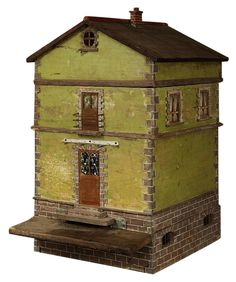 """Bee HIve Designed as a French Country House 34"""" H X 22"""" W X 24"""" D Extremely rare find! See photos. Bee entrance is under steps. Window treaments included. Nonworking fireplace. Piece breaks down into 4 sections."""