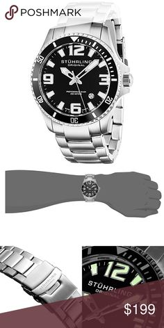 NWT Authentic $395 Mens Aquadiver Stuhrling Watch NEW Authentic Men's Regatta Stuhrling Aquadiver Wrist Watch  Style: Round with Black dial Luminous Hands Size: 42mm Surgical grade Stainless Steel Case Strap: 22mm Stainless Steel link Bracelet Shatter Resistant Keysterna crystal dial window Water resistant 200m  Movement: Swiss Quartz - Ronda 515  This Watch features a screw in crown which helps prevent water getting into the case through the Watch stem hole.   Comes with AUTHENTIC Case and…