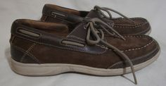 Florsheim Leather Boat Shoes Brown Lace Up Slip Ons Casual Walking Men 8.5 SOFT #Florsheim #BoatShoes