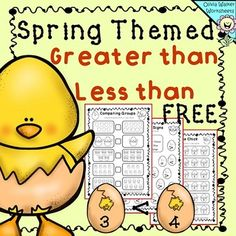 FREE Spring Themed Easter Greater Than Less Than Worksheets.This is a set of 8 fantastic black and white worksheets that teach students Greater than, Less than and Equal to Numbers. There is a great variety of worksheets, fantastic for Kindergarten or Grade One!Comparing two groups (write the sign in the middle) x 2Comparing numbers (write the sign in the middle) x 2Color the right chick (look at the number on the left the sign in the middle, and color the chick with the right answer on the…