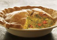 Indian Samosa Casserole With All-purpose Flour, Whole Wheat Pastry Flour, Salt, Vegetable Oil, Yellow Mustard Seeds, Curry Powder, Ground Ginger, Ground Cumin, Red Pepper Flakes, Potatoes, Vegetable Oil, Onions, Carrots, Garlic, Frozen Peas, Low Sodium Vegetable Broth, Agave Nectar, Soy Milk