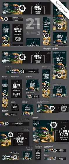 Burger Restaurant Banner Pack Template EPS, PSD - 21 banner formats with beautif. - Burger Restaurant Banner Pack Template EPS, PSD – 21 banner formats with beautiful design for you - Display Banners, Display Ads, Web Banners, Banner Design Inspiration, Web Banner Design, Web Design Tips, Ad Design, Exhibit Design, Flyer Design