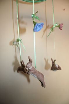 needle felted rabbit mobile