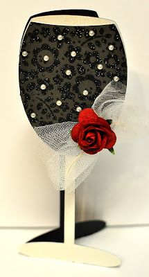 WINE GLASS SHAPED CARD.....this can be used for NEW YEARS plus Weddings and more. Hand to Paper: December 2011