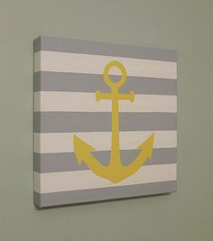"Any Color, Stripe Nautical Anchor Canvas Art by SnowFlowerArts, 12x12"", Gallery Wrapped Canvas"