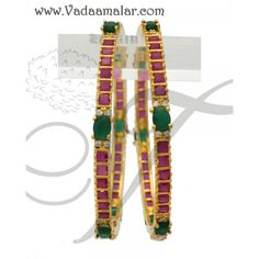 Micro gold plated elegant bracelets with ruby and emerald stones bangles
