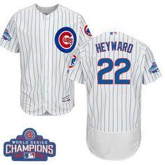de0e5bba1 Men s Majestic Chicago Cubs  22 Jason Heyward White 2016 World Series  Champions Flexbase Authentic Collection