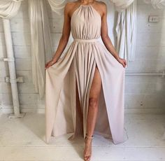 dress tan nude nude dress gown slit dress beige high neck dress cream dress beautiful cute dress long dress long prom dress high neck beige dress flowy