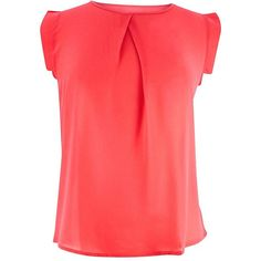 Coral Simple Sleeveless Crepe Chiffon Blouse ($20) ❤ liked on Polyvore featuring tops, blouses, coral, red chiffon blouse, pleated blouse, cap sleeve top, crepe blouse and cap sleeve blouse