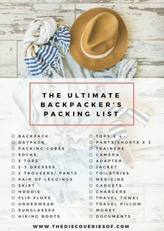 Your ultimate backpacking packing list. Pack your bags, we're going on an adventure! Read more... #backpacking #packinglist #travel