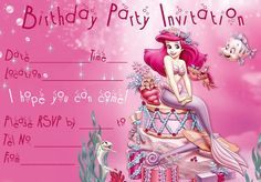 Ariel disney little mermaid free birthday invitation site has arielbirthdayinvitationg 838583 pixels filmwisefo