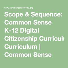 Scope & Sequence: Common Sense K-12 Digital Citizenship Curriculum | Common Sense Media