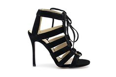 4d06f00a6a2c Angelina Voloshina Strappy Sandals 4 Inch High Heel Black Suede  gt  gt  gt