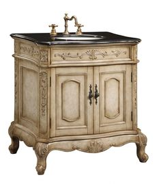 If you want to create a spa-like feel in your small bathroom, start with this luxurious cabinet base. The antique white finish is a great compliment to any traditional bathroom. Additionally, you can choose from other posh elements like a granite counter top and faucet, which are sold separately.