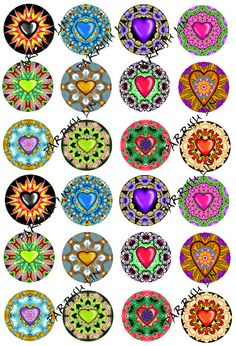 Digital Hearts Valentines Mandalas Kaleidoscopes by DigitalArtMart Bottle Cap Projects, Bottle Cap Crafts, Bottle Cap Art, Bottle Cap Images, Diy Arts And Crafts, Diy Crafts To Sell, Collage Sheet, Collage Art, Decoupage Vintage