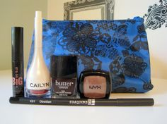 September 2013 Ipsy Bag: It's So Big Mascara by Elizabeth Mott, NYX single eye shadow, Starlooks Eyeliner, Cailyn tinted Lip Balm, Butter London Nail Lacquer in La Moss