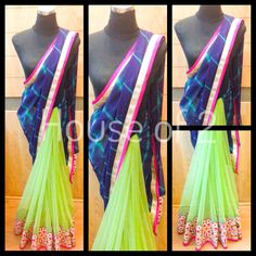 Green net | indigo tiedye saree | gota border by Houseof2 Designers only for End of Season Sale. Note: Product colour may slightly vary due to photographic lighting sources or your monitor settings. Designs, colors and patterns on the actual product may slightly vary from designs shown