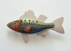 Michael _Romanik  Cloisonne fish brooch - Enamel fish brooch - Long Bass Brooch - colorful fish jewelry - Made to order