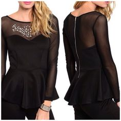Sexy Top This glam long sleeve peplum top features a sweetheart yoke knit bodice with sheer mesh neckline and sleeves. Jeweled chest accent.  Fabric Content: 95% POLYESTER 5% SPANDEX.  II. A10. Tops
