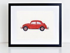 VW Beetle painting VW bug art 1963 by BlueJayBay. This painting is a watercolor rendition of the classic 1963 Volkswagen Beetle, also known as a Type 1 VW, a Super Beetle, a VW Bug, or the kid's favorite - a Punch Buggy. This is a made-to-order piece of art (not a computer print-out), and it can be customized by selecting one of my many color schemes. In addition, I can add words to the painting if you would like to further personalize the artwork.