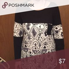Abstract long sleeve top Abstract black and white top. Worn once. Smoke free home. Tops Blouses