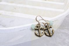 Antique Rose Gold Anchor Earrings