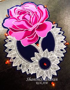 Rose Rangoli Rangoli Designs Latest, Rangoli Designs Flower, Rangoli Border Designs, Latest Rangoli, Colorful Rangoli Designs, Rangoli Patterns, Rangoli Designs Images, Rangoli Ideas, Rangoli Designs Diwali