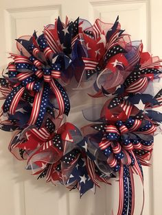 Large Patriotic Wreath, Fourth of July Wreath, Memorial Day Wreath, wreath, Veterans day wreath, red white and Blue Wreath, Anytime Wreath by RoesWreaths on Etsy https://www.etsy.com/listing/533292841/large-patriotic-wreath-fourth-of-july