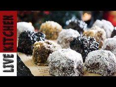 Τρούφες σοκολάτας (Νηστίσιμες) How To Make Vegan Chocolate Truffles - Live Kitchen - YouTube Cake Pops, Cookies, Baking, Meringue, Sweet, Recipes, Food, Youtube, Crack Crackers