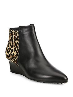 Tod's Leather & Leopard-Print Calf Hair Point-Toe Wedge Booties