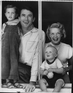 Gregory Peck and his family, circa 1940s.
