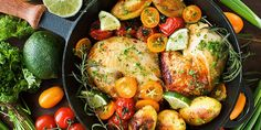 Roast Chicken Quarters with Potatoes and Tomatoes Recipe 1 green, 1 yellow, 1 red Roasted Chicken Quarters, Roast Chicken, Chicken Potatoes, Roasted Potatoes, Baked Chicken, Healthy Cooking, Healthy Snacks, Healthy Eating, Cooking Tips